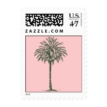 Beach Themed Green Palm Tree Postage