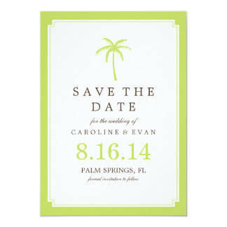 Green Palm Tree Wedding Save the Date Card