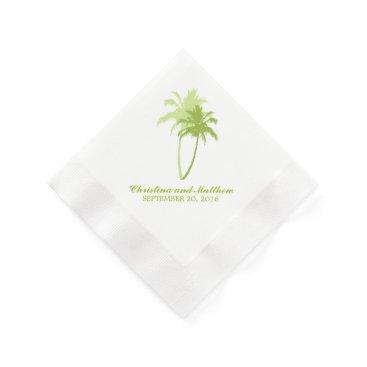 Beach Themed Green Palm Trees Beach Wedding Paper Napkin