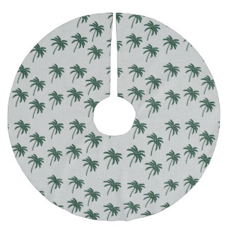 Green Palm Trees Brushed Polyester Tree Skirt