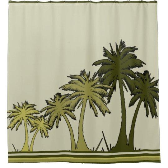 Green Palm Trees Tropical Digital Art Shower Curtain