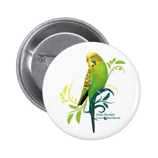 Green Parakeet Button