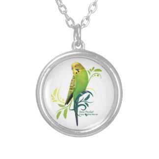 Green Parakeet Round Pendant Necklace
