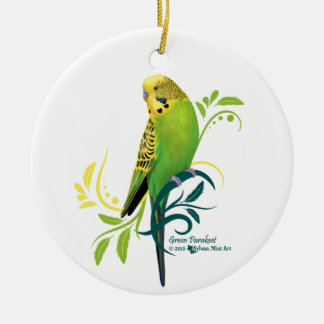 Green Parakeet Double-Sided Ceramic Round Christmas Ornament