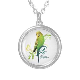 Green Parakeet Silver Plated Necklace