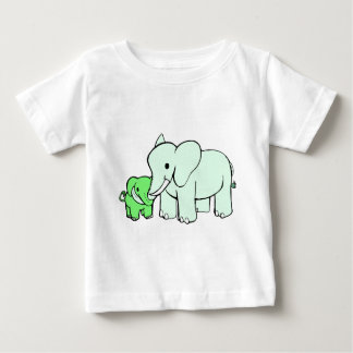 Green Parent and Child Elephants Baby T-Shirt