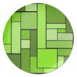 Green Parquet Design Plate