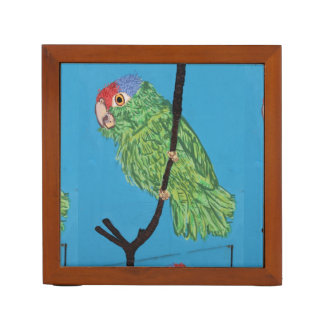 green parrot and palm tree desk organizer