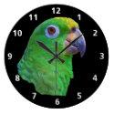 Green Parrot Customizable Clock
