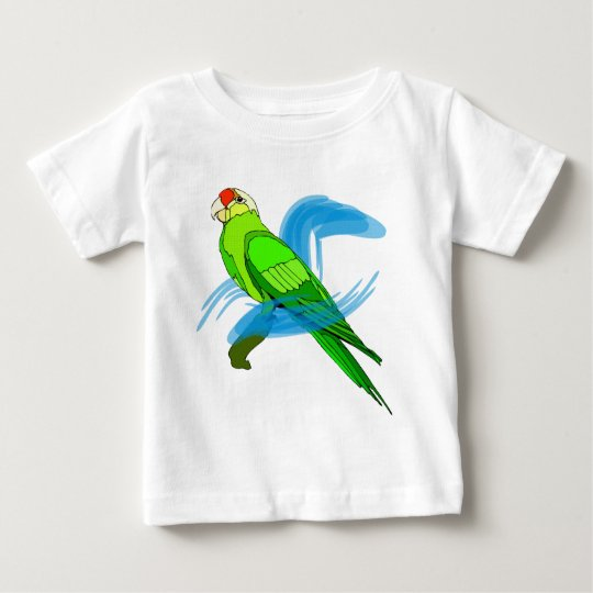 Green Parrot Feathers with Blue Swirls Baby T-Shirt