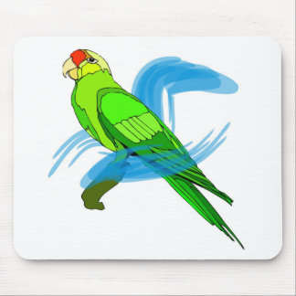 Green Parrot Feathers with Blue Swirls Mousepads