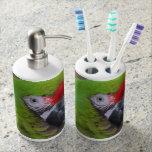 green parrot head view  bird bath accessory set
