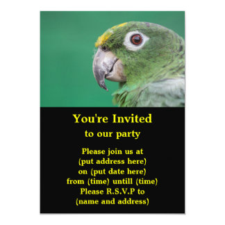 Green Parrot 5x7 Paper Invitation Card