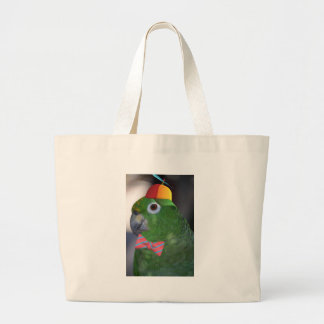green parrot kid friendly large tote bag