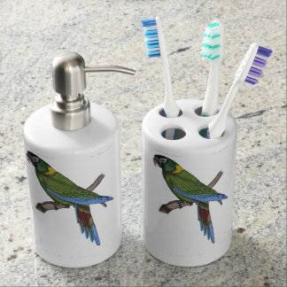 Green Parrot Macaw Painting Bathroom Set
