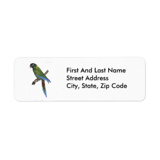 Green Parrot Macaw Painting Label