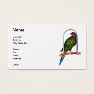 Green Parrot on Swing Business Card