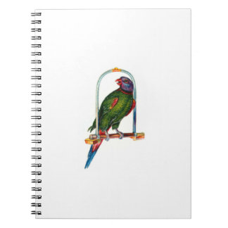 Green Parrot on Swing Notebook