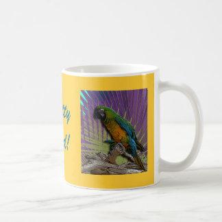 Green Parrot & Palms mug - customized