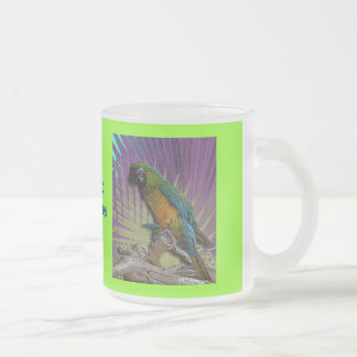 Green Parrot & Palms mug- customized