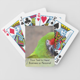 Green parrot red head bird image c bicycle playing cards