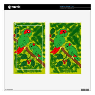 Green Parrot Skins For Kindle Fire