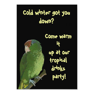 Green Parrot Tropical Drinks Card