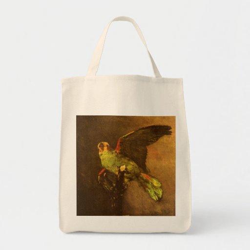 Green Parrot, Vincent van Gogh, Vintage Still Life Grocery Tote Bag