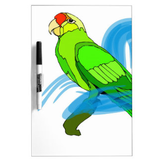 Green Parrot with Blue Swirls Dry-Erase Board