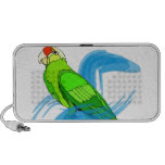 Green Parrot with Blue Swirls Travel Speakers