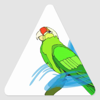 Green Parrot with Blue Swirls Triangle Sticker