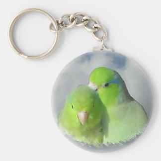 Green parrotlet pair basic round button keychain