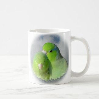 Green parrotlet pair mugs