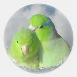 Green parrotlet pair round sticker
