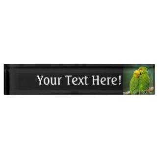 Green Parrots Love Birds Photography Desk Name Plate