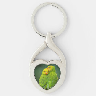 Green Parrots Love Birds Photography Keychain