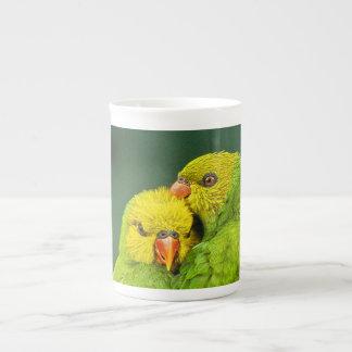 Green Parrots Love Birds Photography Tea Cup