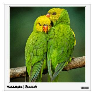 Green Parrots Love Birds Photography Wall Sticker