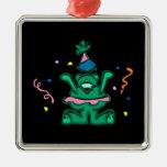 Green Party Bear Christmas Ornaments
