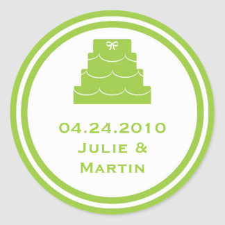 Green party cake wedding favor tag seal label round sticker