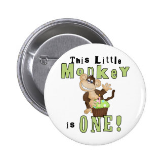 Green Party Monkey 1st Birthday Tshirts and Gifts Pin