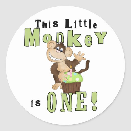 Green Party Monkey 1st Birthday Tshirts and Gifts Classic Round Sticker