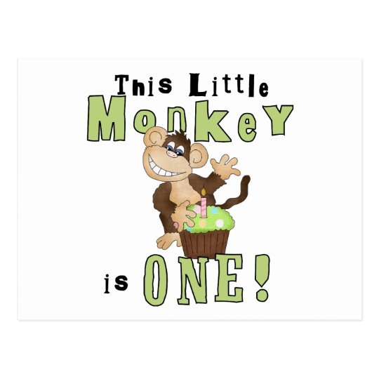 Green Party Monkey 1st Birthday Tshirts and Gifts Postcard