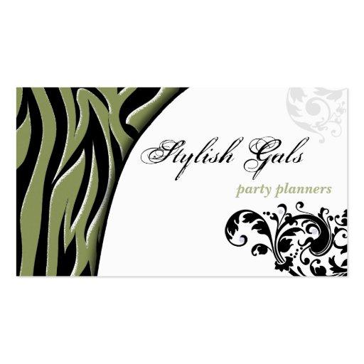Green Party Planner Zebra Print Hip Business Card