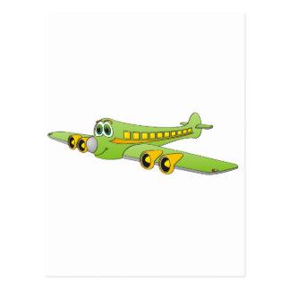 Green Passenger Jet Cartoon Post Cards