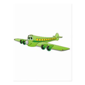 Green Passenger Jet Cartoon Postcard