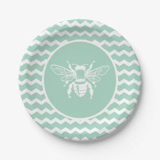 Green Pastel Chevron White Bee Paper Plate