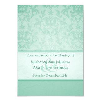 Green pastel damask formal wedding invitation