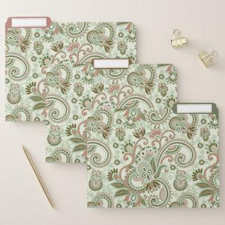 Green Pastel East Indian Floral File Folder