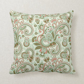 Green Pastel Floral & Scroll Pattern Pillow